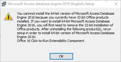 failed to install either 32bit or 64bit for Microsoft Access