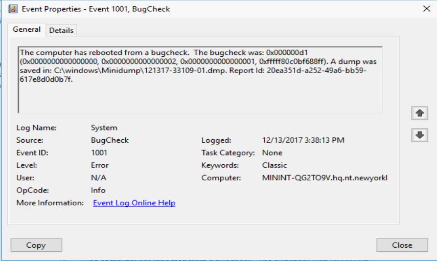 Server 2016 Blue Screen