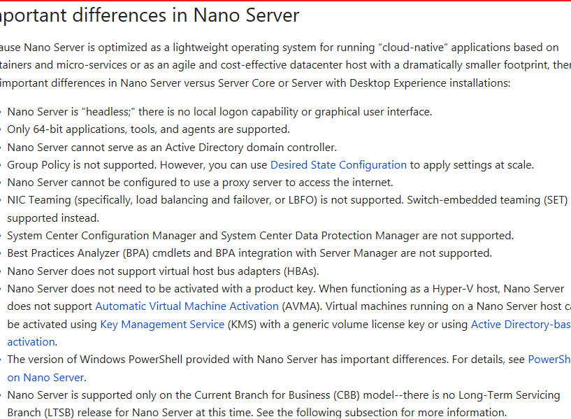 Windows Service Installation issues on Nano Server Container