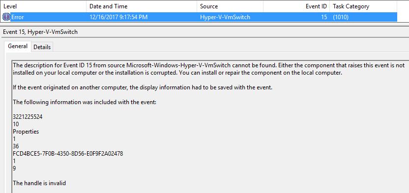 Microsoft-Windows-Hyper-V-VmSwitch cannot be found