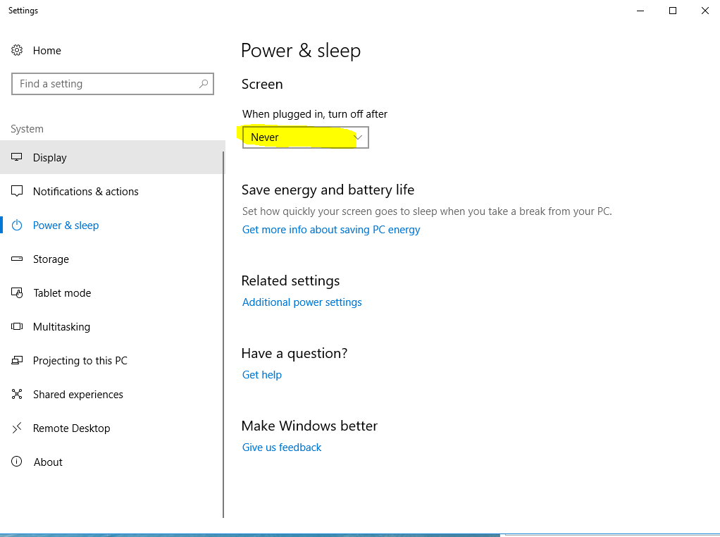 Windows 10 sleep after remote session idle