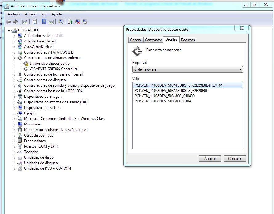 Windows - Panel de control - Administrador de dispositivos - Hardware IDs