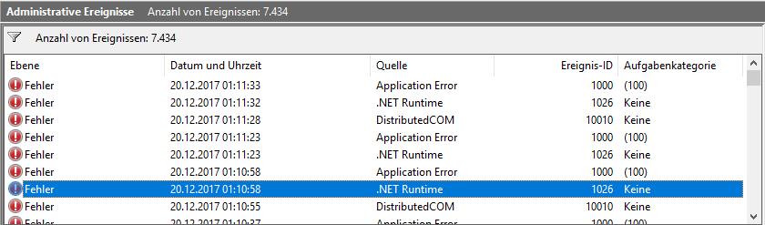 NET Runtime 1026, Application Error 1000, DistributedCOM 10010