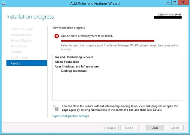 Not able to install Desktop Experience feature in Windows Server 2012 R2
