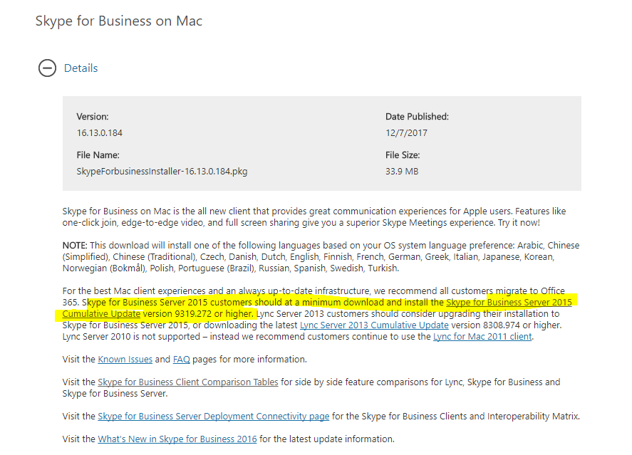 Skype for Business for MAC