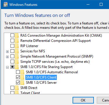 how te re-enable SMB1 in windows1o