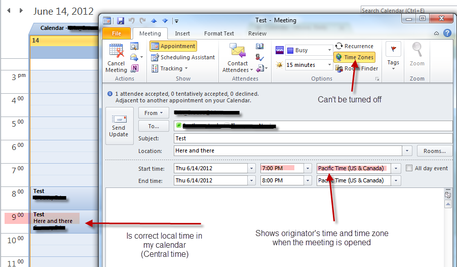 Calendar Meeting: Time Zone Display Issue