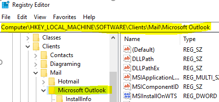 Outlook not recognised as default client