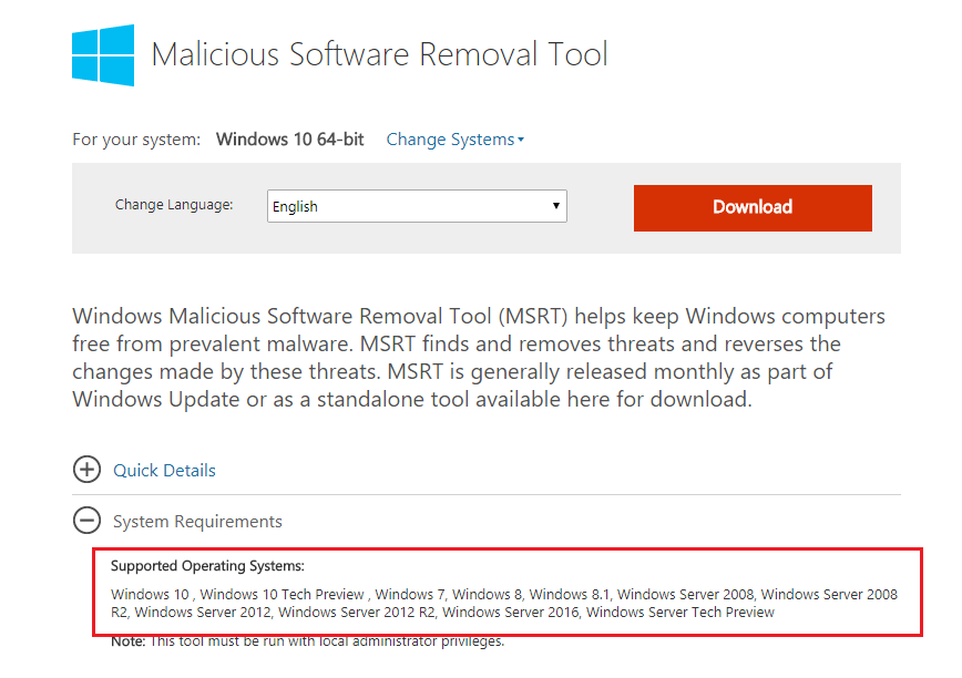 Download malicious software removal tool 32, 64 bit windows 10.
