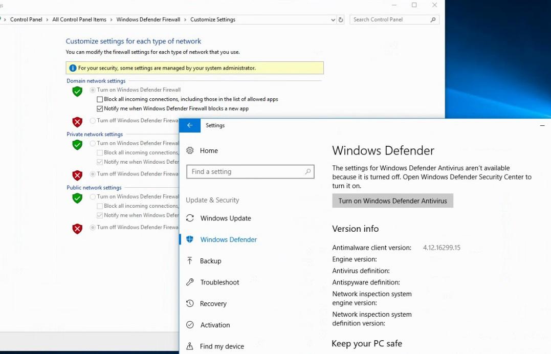 windows update turning on firewall