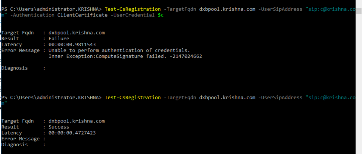 Test-CsPhoneBootstrap & test-csclientauthentication failed