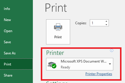 excel 2016 print preview not available and not connecting to printer