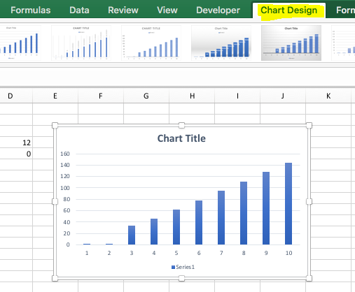 Chart design tab is now missing on excel for mac but when testing in my excel 2016 for mac 1610 insider fast the chart design tab can show up properly ccuart Gallery