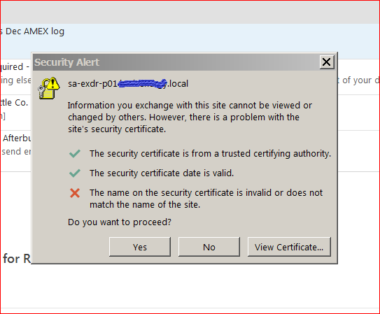 local error wont go away. Trying to connect to MAPI on DR exchange