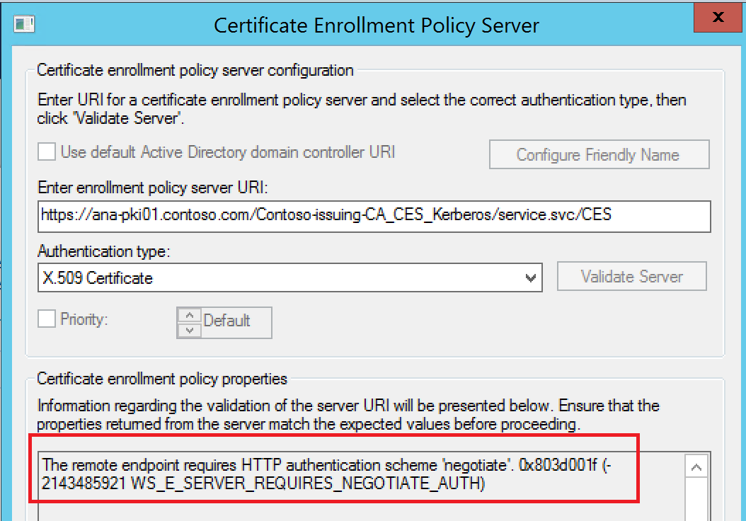The remote endpoint requires HTTP authentication scheme 'negotiate