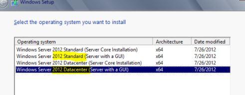 Windows Server 2012 Standard R2 iSO named shown DataCenter