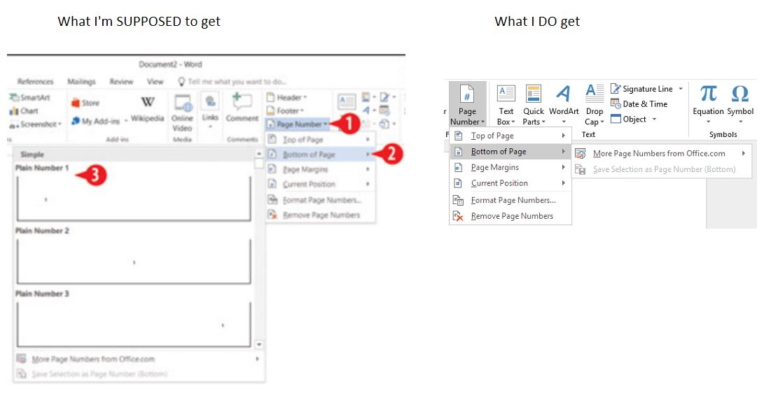 Page numbering bug in word 2016 their contact support feature in word is a joke all you ever get is a message saying an error occurred try again later ccuart Choice Image