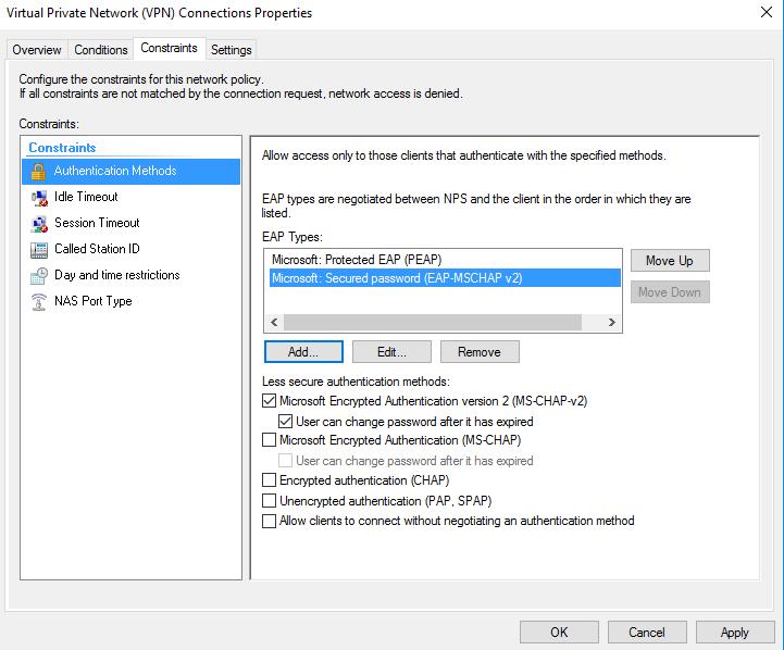 NPS authentication errors