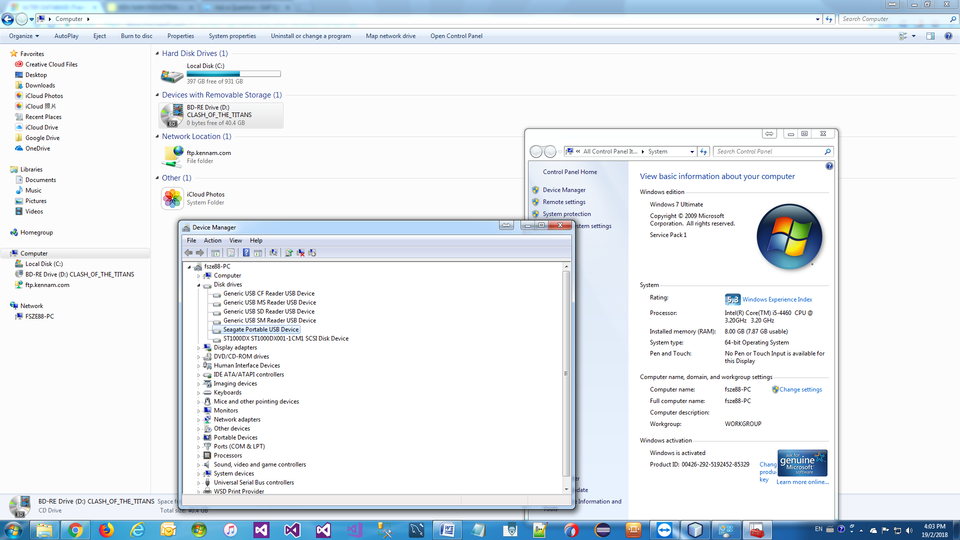 The Device Manager in Windows 7 and 8. How do I log into Device Manager