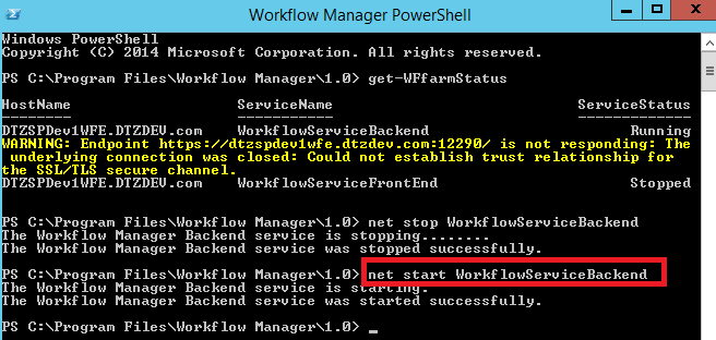 Workflow Manager - WorkflowServiceFrontEnd services STOPPED