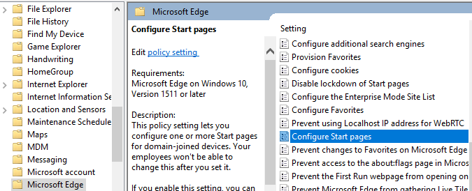 Microsoft Edge Home button