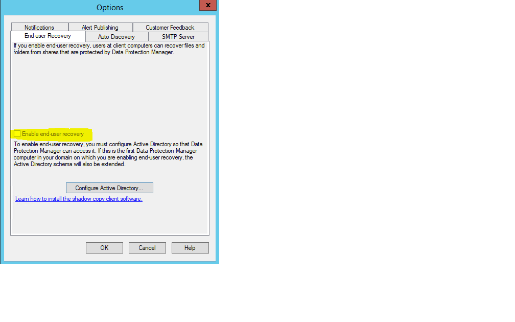 DPM 2012 R2 End User Recovery