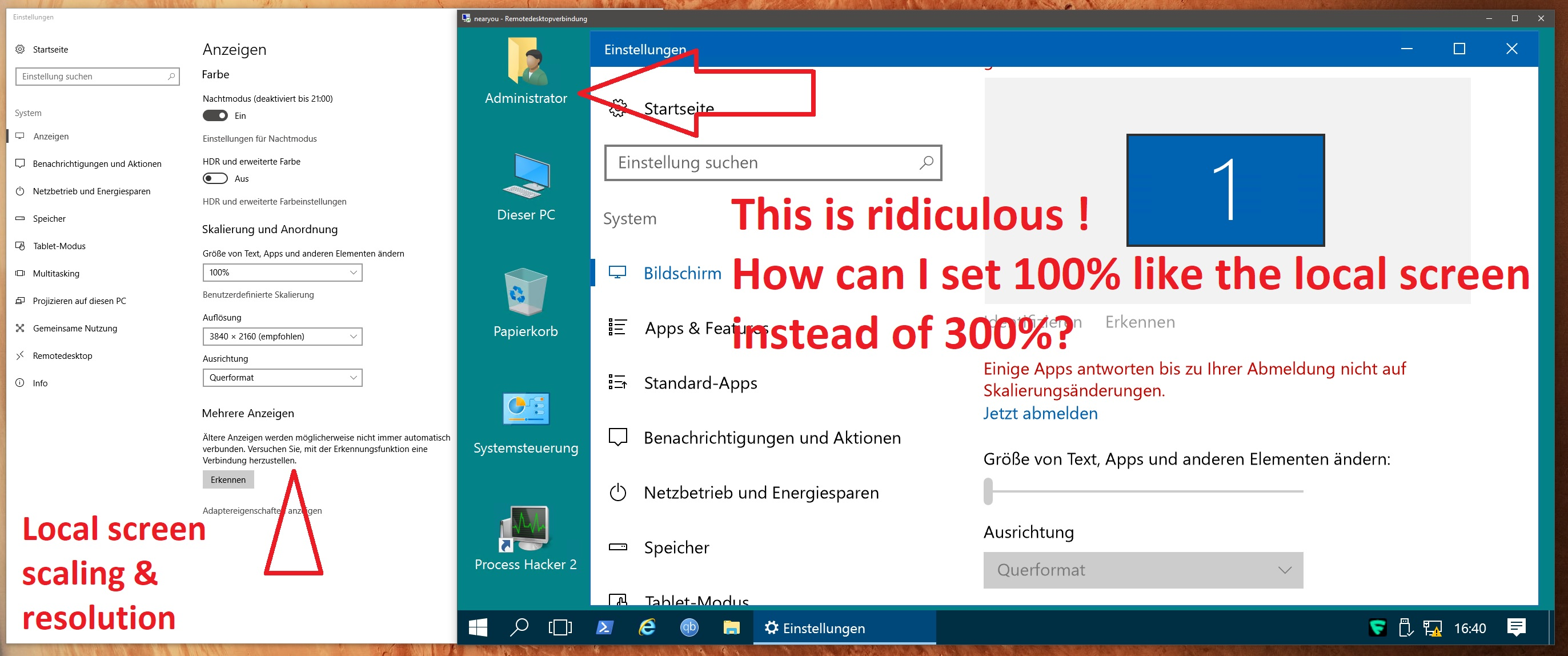 SOLVED! - Ridiculousy large scaling in Server 2016 RDP - how