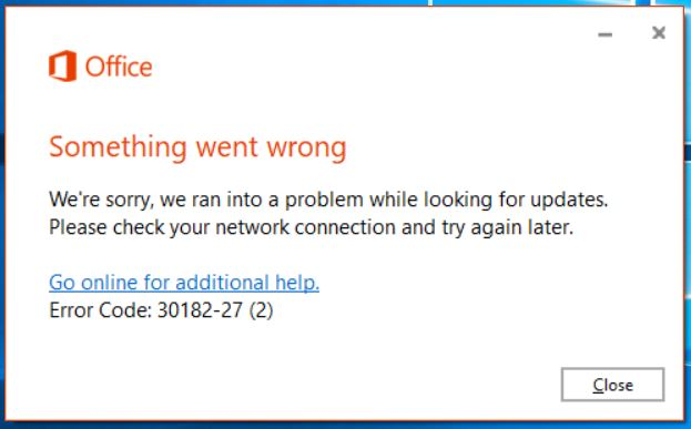 Error code: 30182-27 (2) for users when trying to update Office 365