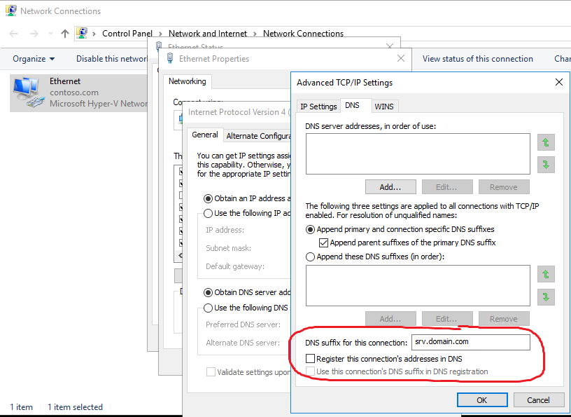 reset connection specific dns suffix