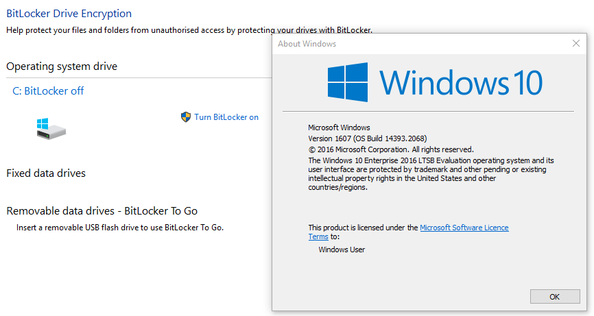 Bitlocker supported in Win 10 Pro LTSB?