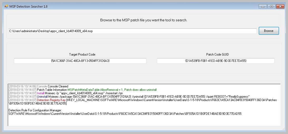 Installing MSP with SCCM