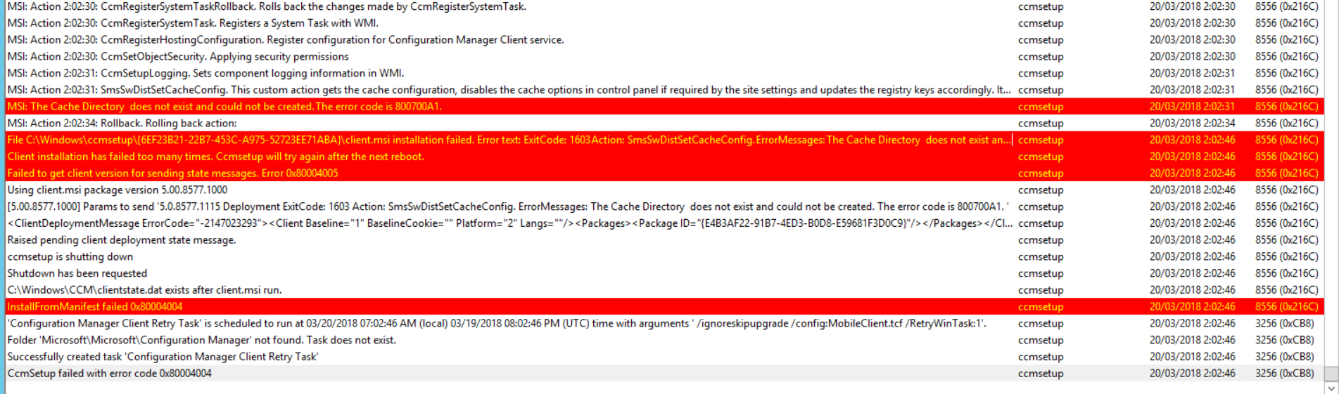 SCCM Client - install issue