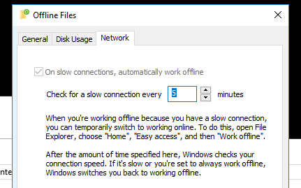 On slow connections, automatically work offline UNCHECK