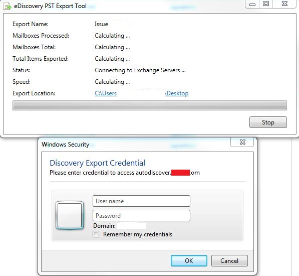 Ediscovery Export Tool Needs Credential