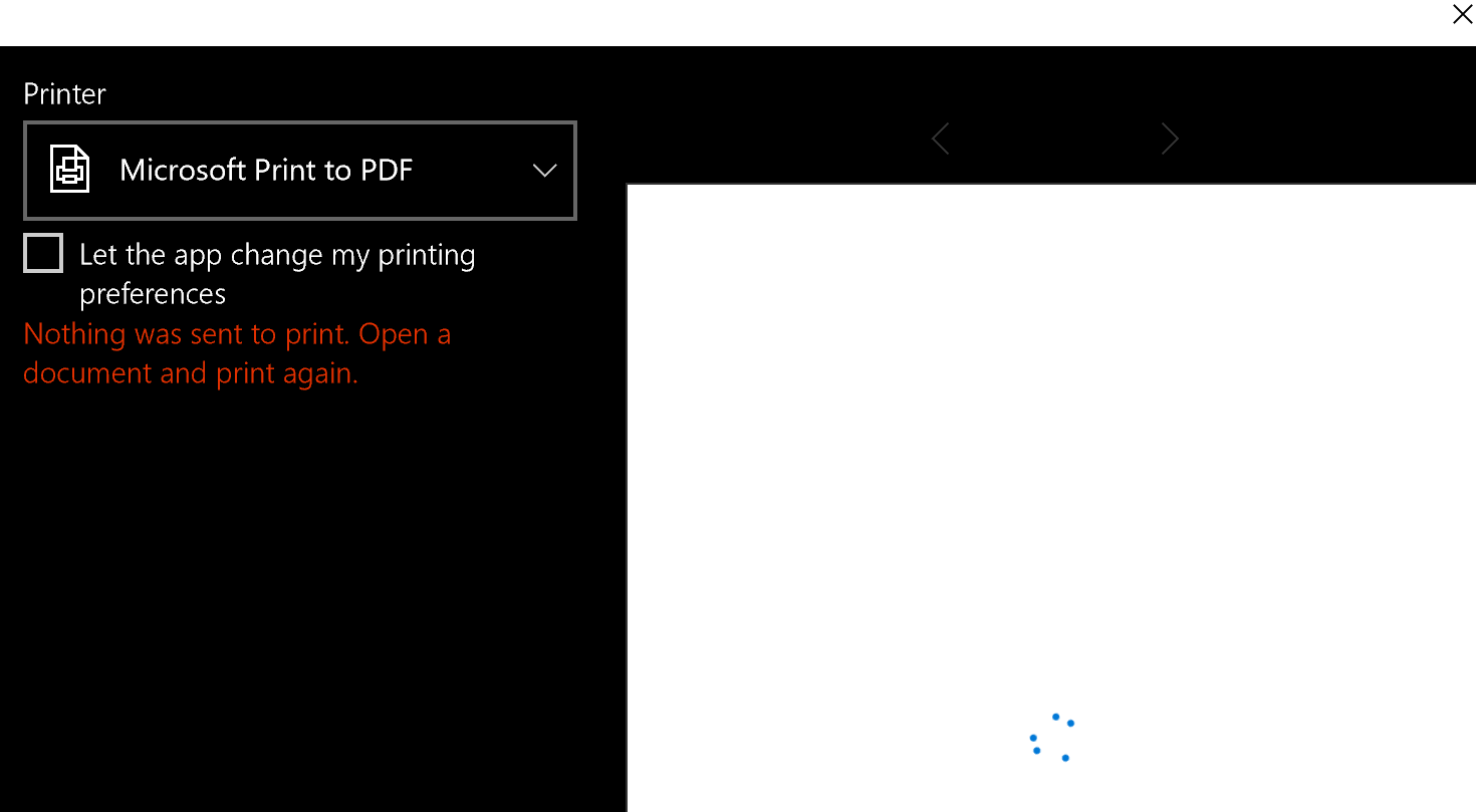 microsoft photos nothing was sent to print open a document and