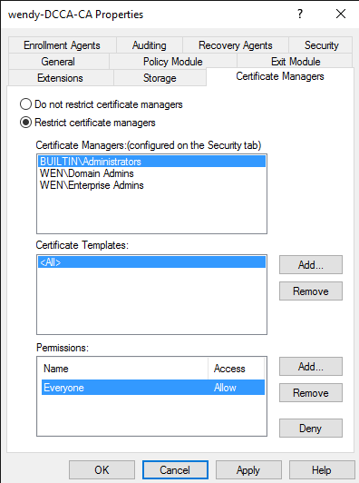 Pki permission delegation full certificate lifecyle for use the certificate manager restrictions tab to restrict the group to revoking certs based on a specific template to a specific globaluniversal group yelopaper Choice Image