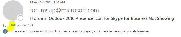 Outlook 2016 Presence Icon for Skype for Business Not Showing