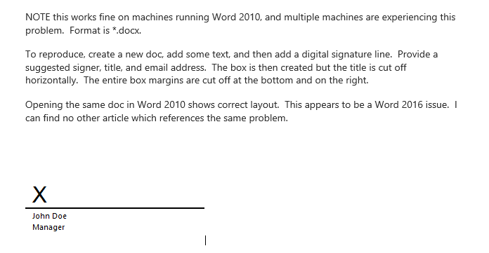 Word 2016 Digital Signatures Not Displaying Properly