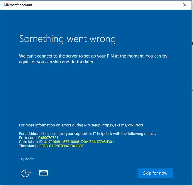 Windows 10 MS 365 business pin setup error 0x80070781?