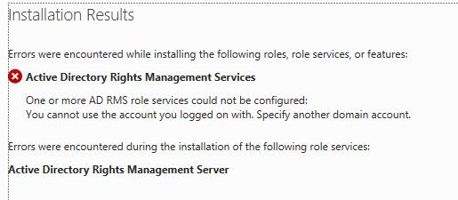 AD RMS Configuration Error