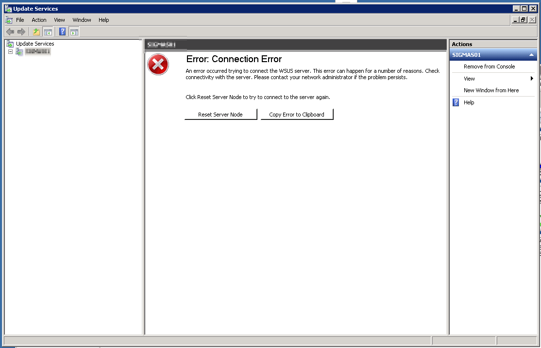 Can´t clean WSUS on SBS2011 - Error: Connection Error