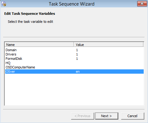 OSD Task sequence variables