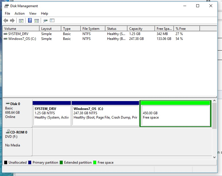 Bitlocker setup caused drive partition to disappear