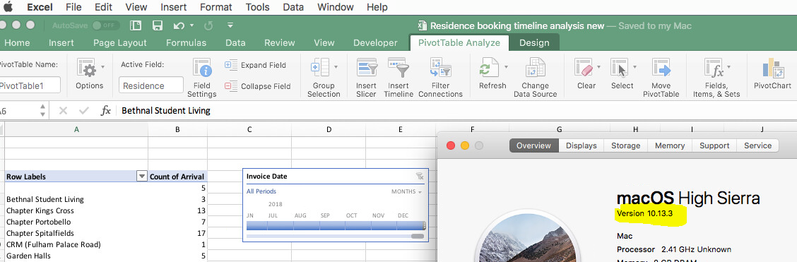 Pivottable Timeline feature and does NOT work in Excel for
