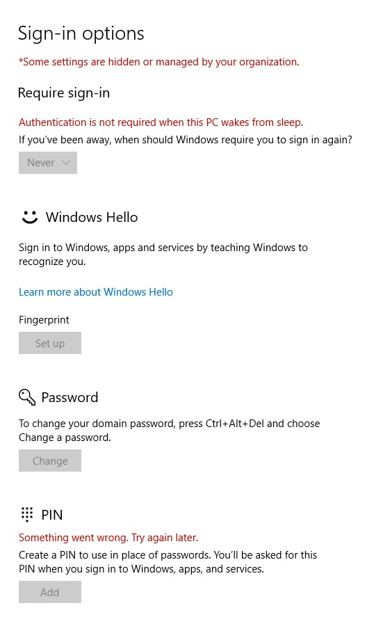Enable Windows Hello on a domain joined PC
