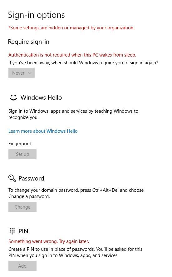 Windows Hello settings screen.