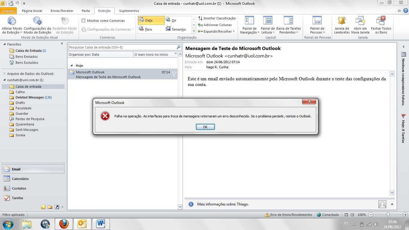Erro ao excluir mensagem no outlook usando conta IMAP
