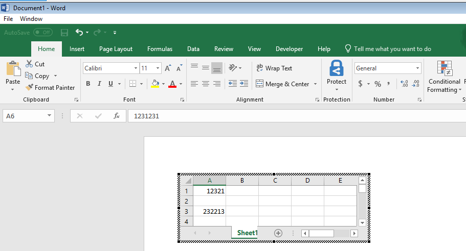 Word with embedded Excel Spreadsheet - Excel opens outside