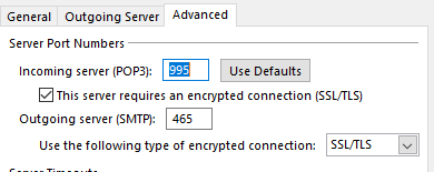 Outlook 2016 cannot connect to email server with SSL/TLS