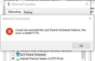 Windows 10 (1803) - QoS cannot uninstall (Error: 0x80071779)